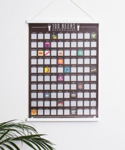 Sip your way through 100 new beers with this 100 beers scratch poster.