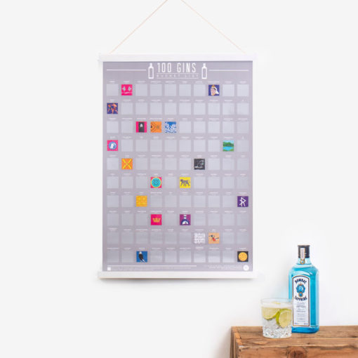 Drink your way around the world with 100 exotic gins and then scratch them in the 100 gins scratch poster