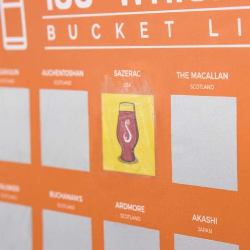 Sip the whiskeys, then scratch off the corresponding panels in 100 whiskies scratch poster. In the end, you get bragging rights AND a cool poster Looks damn good on the wall