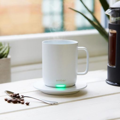 Ember Temerature Control Smart Mug in White. Hold that heat for up to an hour wireless or all day on charge Just choose your warmth level on the Ember app and you're ready