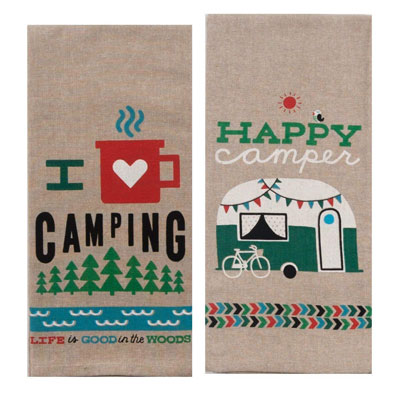 Camping Adventures Chambray Towel Set | 21 Clever Gift Ideas for Campers & Hikers (BEST Outdoor gifts Ever!)